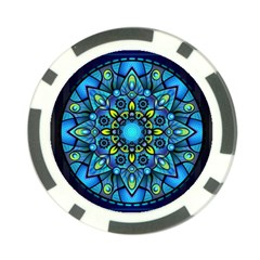 Mandala Blue Abstract Circle Poker Chip Card Guard (10 Pack)