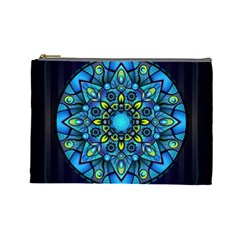 Mandala Blue Abstract Circle Cosmetic Bag (large)