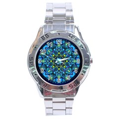 Mandala Blue Abstract Circle Stainless Steel Analogue Watch