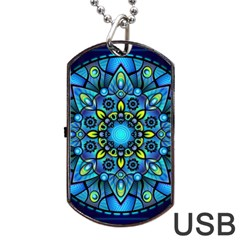 Mandala Blue Abstract Circle Dog Tag Usb Flash (two Sides)