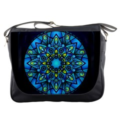 Mandala Blue Abstract Circle Messenger Bags
