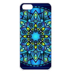 Mandala Blue Abstract Circle Apple Iphone 5 Seamless Case (white)