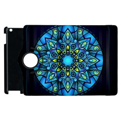 Mandala Blue Abstract Circle Apple Ipad 3/4 Flip 360 Case