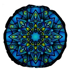 Mandala Blue Abstract Circle Large 18  Premium Round Cushions by Nexatart