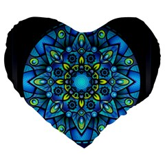 Mandala Blue Abstract Circle Large 19  Premium Heart Shape Cushions