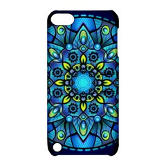 Mandala Blue Abstract Circle Apple Ipod Touch 5 Hardshell Case With Stand
