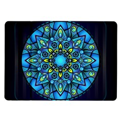 Mandala Blue Abstract Circle Samsung Galaxy Tab 10 1  P7500 Flip Case