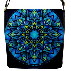 Mandala Blue Abstract Circle Flap Messenger Bag (s)