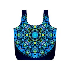Mandala Blue Abstract Circle Full Print Recycle Bags (s)