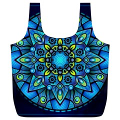 Mandala Blue Abstract Circle Full Print Recycle Bags (l)