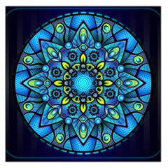 Mandala Blue Abstract Circle Large Satin Scarf (square)