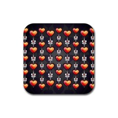 Love Heart Background Rubber Square Coaster (4 Pack)