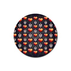 Love Heart Background Rubber Round Coaster (4 Pack)