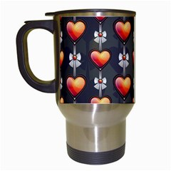 Love Heart Background Travel Mugs (white)