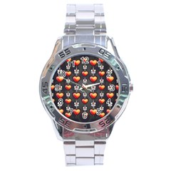 Love Heart Background Stainless Steel Analogue Watch