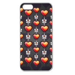 Love Heart Background Apple Seamless Iphone 5 Case (clear)