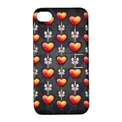 Love Heart Background Apple Iphone 4/4s Hardshell Case With Stand