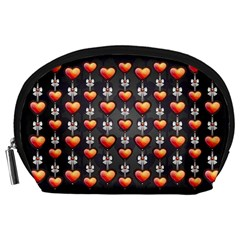 Love Heart Background Accessory Pouches (large)