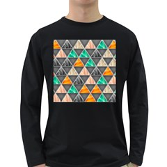 Abstract Geometric Triangle Shape Long Sleeve Dark T Shirts