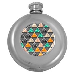 Abstract Geometric Triangle Shape Round Hip Flask (5 Oz)