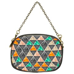 Abstract Geometric Triangle Shape Chain Purses (one Side)