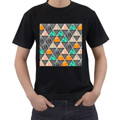 Abstract Geometric Triangle Shape Men s T Shirt (black)