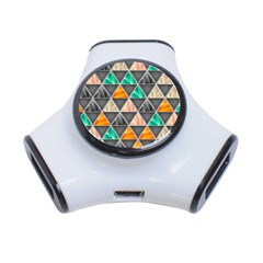 Abstract Geometric Triangle Shape 3 Port Usb Hub
