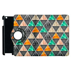 Abstract Geometric Triangle Shape Apple Ipad 3/4 Flip 360 Case
