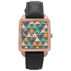 Abstract Geometric Triangle Shape Rose Gold Leather Watch  by Nexatart