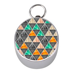 Abstract Geometric Triangle Shape Mini Silver Compasses