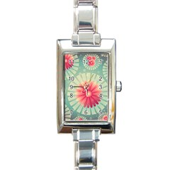 Background Floral Flower Texture Rectangle Italian Charm Watch