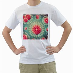 Background Floral Flower Texture Men s T Shirt (white) (two Sided)