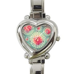 Background Floral Flower Texture Heart Italian Charm Watch