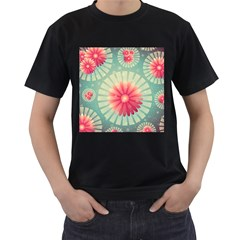 Background Floral Flower Texture Men s T Shirt (black) (two Sided)