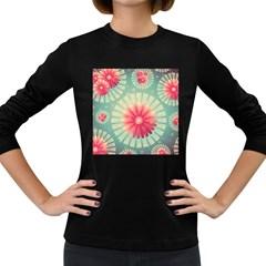 Background Floral Flower Texture Women s Long Sleeve Dark T Shirts