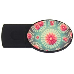 Background Floral Flower Texture Usb Flash Drive Oval (4 Gb)