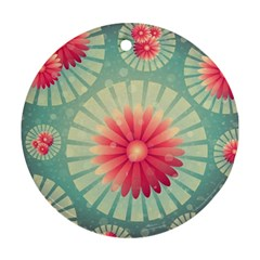 Background Floral Flower Texture Round Ornament (two Sides)