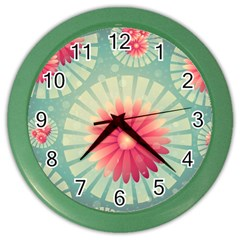 Background Floral Flower Texture Color Wall Clocks