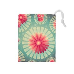 Background Floral Flower Texture Drawstring Pouches (medium)