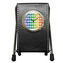Background Colorful Geometric Pen Holder Desk Clocks