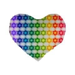 Background Colorful Geometric Standard 16  Premium Flano Heart Shape Cushions