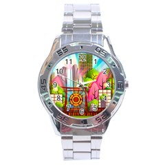 Zen Garden Japanese Nature Garden Stainless Steel Analogue Watch