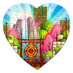 Zen Garden Japanese Nature Garden Jigsaw Puzzle (heart)