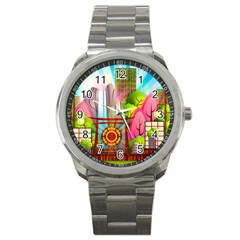 Zen Garden Japanese Nature Garden Sport Metal Watch
