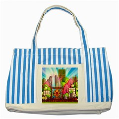 Zen Garden Japanese Nature Garden Striped Blue Tote Bag