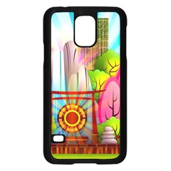 Zen Garden Japanese Nature Garden Samsung Galaxy S5 Case (black) by Nexatart