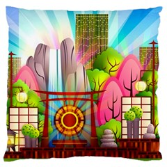 Zen Garden Japanese Nature Garden Large Flano Cushion Case (one Side)