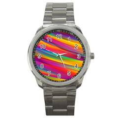 Colorful Background Sport Metal Watch