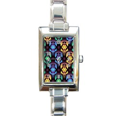 Pattern Background Bright Blue Rectangle Italian Charm Watch