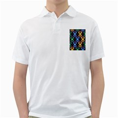 Pattern Background Bright Blue Golf Shirts